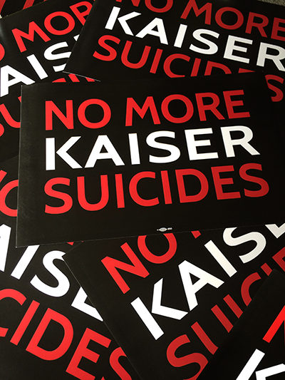 No More Kaiser Suicide signs WEB
