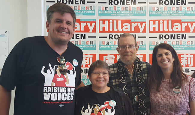 California Pacific Medical Center workers volunteered for Hillary Ronen's campaign for the San Francisco Board of Supervisors. Ronen, long-time aide to Supervisor David Campos, has been a strong supporter of our contract fights in San Francisco.