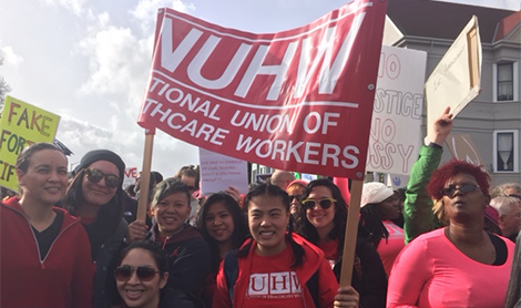NUHW members turn out to women's marches