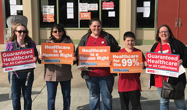 NUHW members rallied for access to healthcare in Eureka.