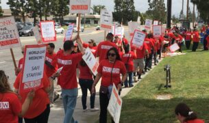 Hundreds of caregivers rallied for a fair contract.