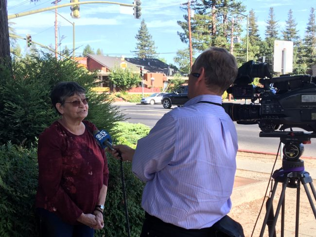 Sandra Bixler talks to a reporter from KPIX5