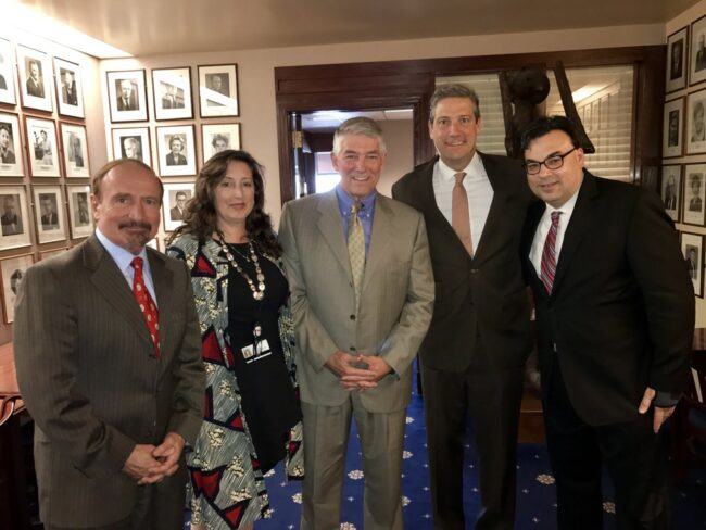 From left to right: NUHW President Sal Rosselli, Jackie Schalit, Cuyler Costanzo, Rep. Tim Ryan and Ken Rogers inside the National Press Club Monday, Sept. 25, 2017