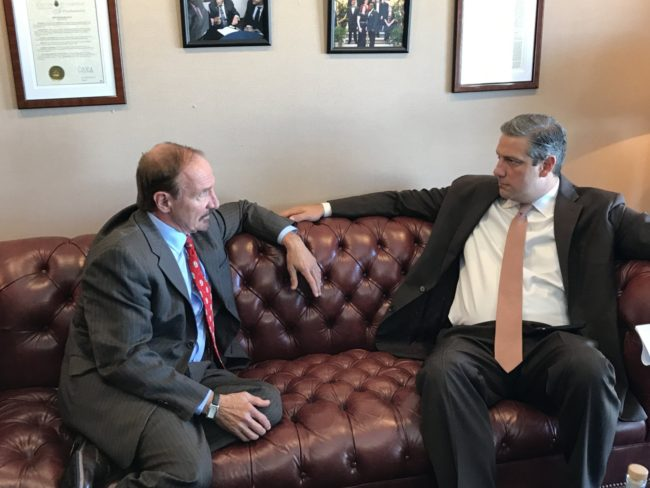 NUHW President Sal Rosselli talking to Rep. Tim Ryan, D-Ohio, Monday, Sept. 25, 2017