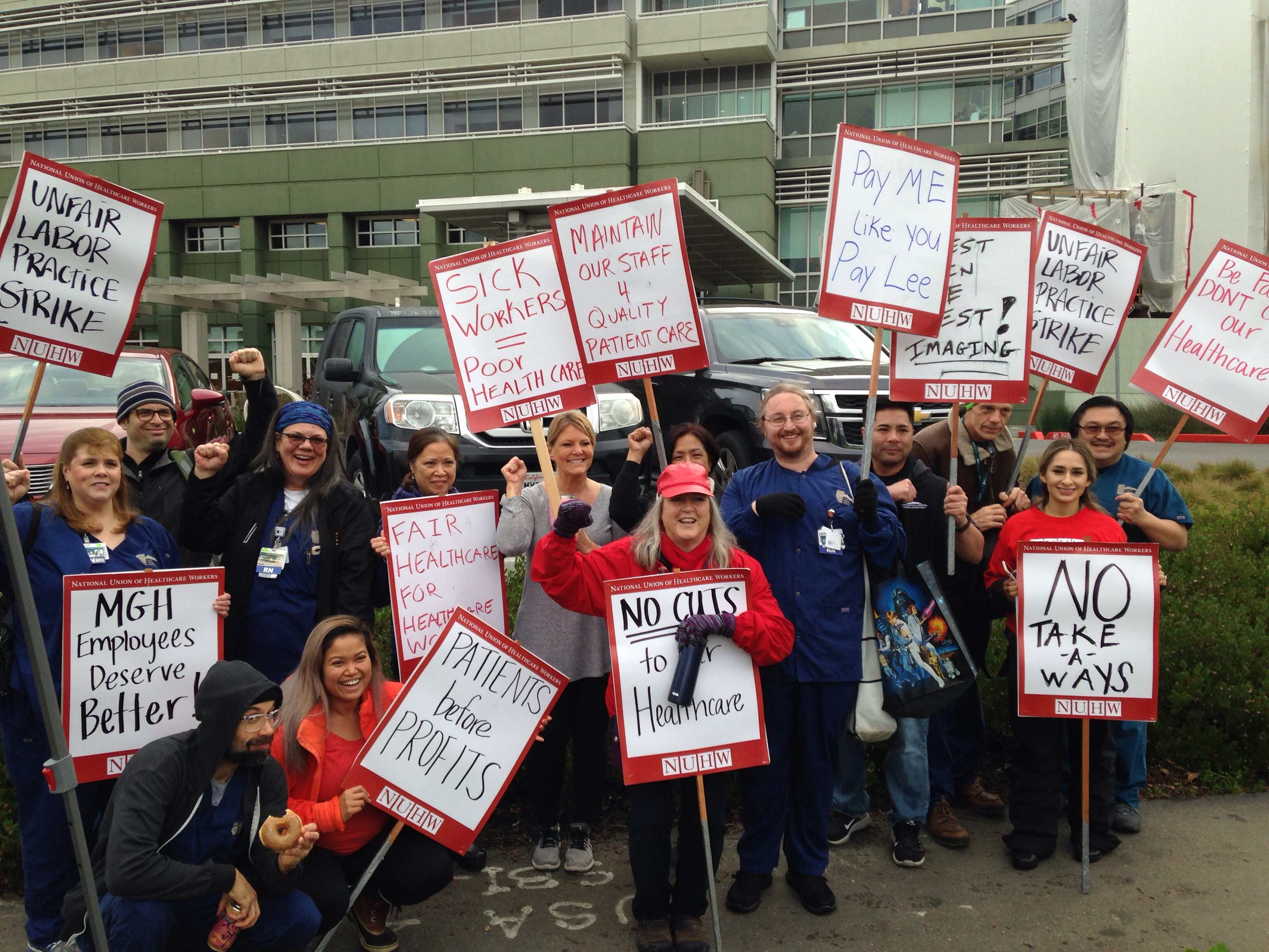 Marin General workers strike to preserve health care benefits and